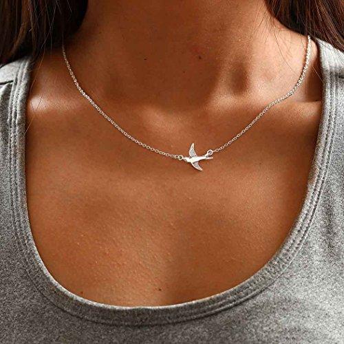 Chicer Halskette mit schlichtem Anhänger in kleiner Taubenform, verstellbar für Damen und Mädchen (Silber)