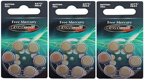Eunicell 30 x A675/PR44 Hörgeräte-Batterie Quecksilberfrei (5 Blistercard = 30 Batterien) FBA