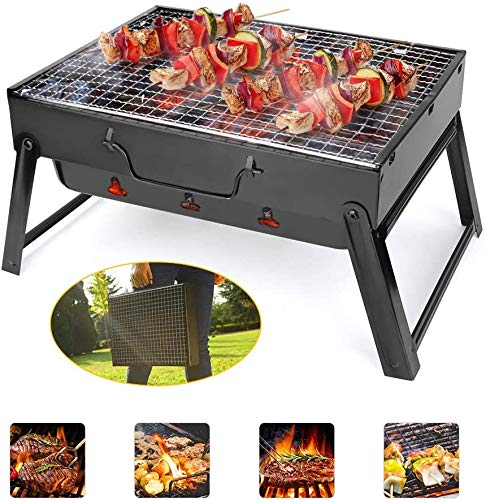 LINGSFIRE Portable Charcoal BBQ Grill, Folding Kabob Grill Premium Iron Camping Grill for Outdoor Cooking Camping Hiking Picnics Garden Travel