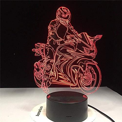 3D Lámpara de Escritorio Mesa Motorista 7 cambiar el color botón táctil de escritorio del USB LED lámpara de tabla ligera para el Hogar Decoración para Niños Mejor Regalo