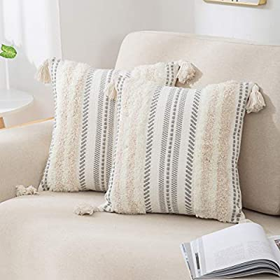 Set of 2 Boho Decorative Throw Pillow Covers for Bed Bedroom Neutral Accent Cushion Cover Tufted Woven Pillow Case, 18x18, Beige