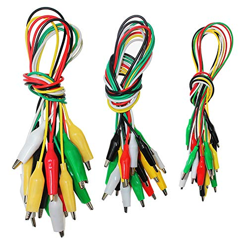 KeeYees30 Stück 3 Größen Krokoklemmen mit kabel, Jede Größe mit 5 Farben Krokodilklemme Isolierdrahtkabel doppelendige kupfer krokodilklemmen 50cm kabel für multimeter