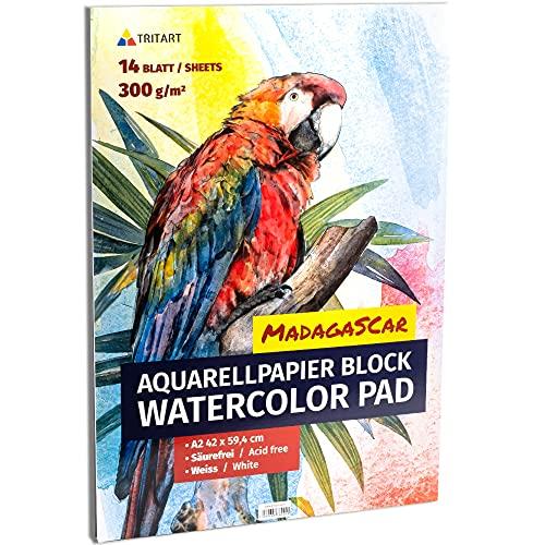Tritart Aquarellpapier A2 300g 14 Blatt | Din A2 Aquarellblock | Malpapier für Kinder und Erwachsene | Zeichenblock A2 für Aquarellfarben | Mal Papier Mal Block