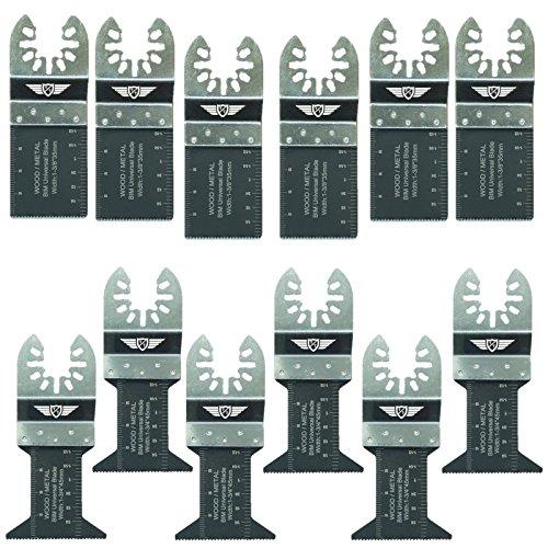 12 x TopsTools FAK12BMX Klingen set Bi-Metall für Multifunktionswerkzeug von Dewalt Stanley Bosch Fein (Nicht-StarLock) Makita Milwaukee Einhell Parkside Ryobi Worx Workzone Multitool Zubehör