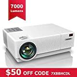 Projector, YABER Native 1920x 1080P Projector 7000 Lux Upgrade Full HD Video Projector, ±45° 4D Keystone Correction,LCD LED Home Theater Projector Compatible with Smartphone,PC,TV Box,PS4