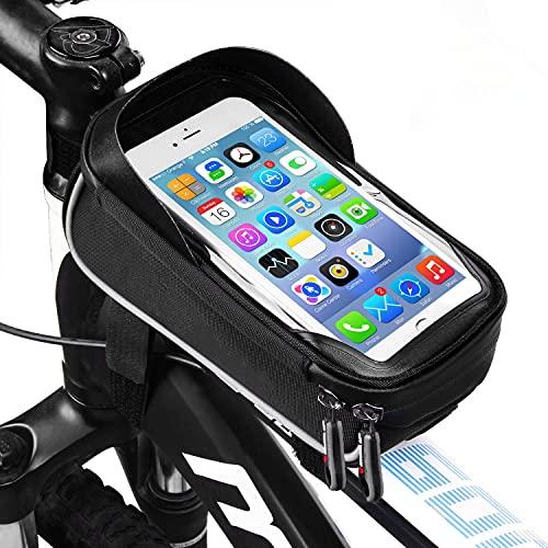 LIDIWEE Borsa Telaio Bici, 6 inch Porta Cellulare Bici, Borsa da Manubrio per Biciclette, Borse Biciclette Supporto Bici MTB BMX, Accessori Bici (Nero e Grigio)