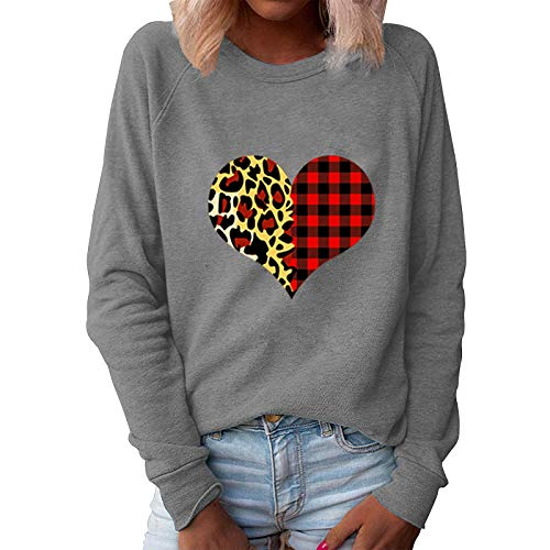 Bluse Top Frauen Valentine Heart Print O Hals Loose Sweater Langarm Casual (3XL,3Grau)