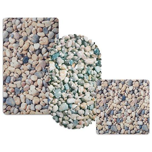 casa pura® Wanneneinlage Stone   helle Steinoptik   schadstoffgeprüft   als Badewanneneinlage und Duschmatte erhältlich   3 Größen   oval (69x36 cm)