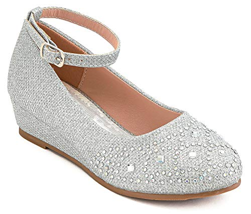 Furdeour Girls Silver High Heels Party Wedding Dress Shoes Toddler Flower Girl Pageant Wedge Shoes Little Girls Size 9.5 Princess Dress up Shoes (Silver 9.5)