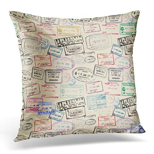 Jhonangel Throw Pillow Cover Travel World Traveller Pasaporte Sello Viajes Funda de Almohada Decorativa Decoración del hogar Funda de Almohada Cuadrada 18x18 Pulgadas
