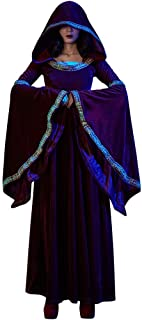 Doric Womens Halloween Witch Cosplay Costume Vintage Long Sleeve Prom Party Hooded Maxi Dress