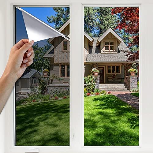 YINFEI Film Miroir Fenêtre Protection de Solaire Film Miroir sans Tain Anti Regard Anti UV Anti Chaleur pour Fenêtre Maison Bureau
