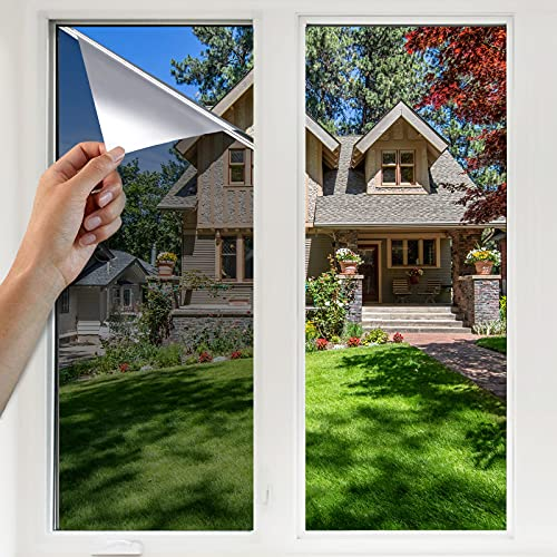 YINFEI Pellicola Specchio per Vetri Finestre Autoadesiva Pellicola Riflettente Finestre Pellicola Specchio Anti-UV, Utilizzata Nella Pellicola Oscurante per Privacy Degli Uffici Domestici(Argento)