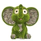 TERESA'S COLLECTIONS Niedliche Elefant Wetterfest Figuren mit Augen Solarleuchte für Außen 23cm Beflockt mit Moos Stein Gartenfiguren aus Kunstharz Gartendeko Figuren Gartenleuchte für Hof Balkon