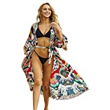 ZZALLLCárdigan Kimono Largo con Estampado japonés para Mujer, Bikini con Frente Abierto, Camisa de Playa para Cubrir