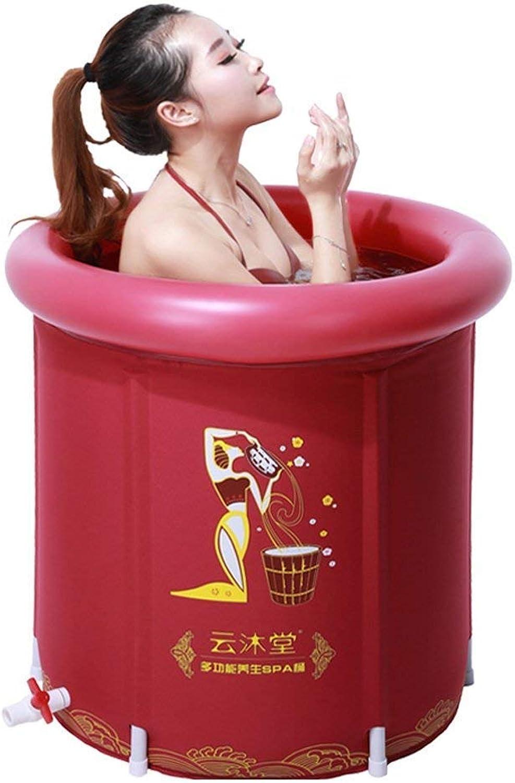 Bathtub, Pools Folding Tub Adult BarrelThickening Warm BathFumigation InflatableTub Red Bathtubs -,-