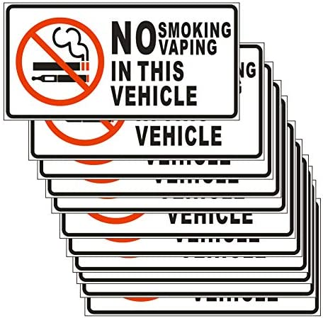 No Smoking No Vaping in This Vehicle Sticker Sign 10 Set 1 5 X 3 Inch 5 Mil Vinyl Laminated product image