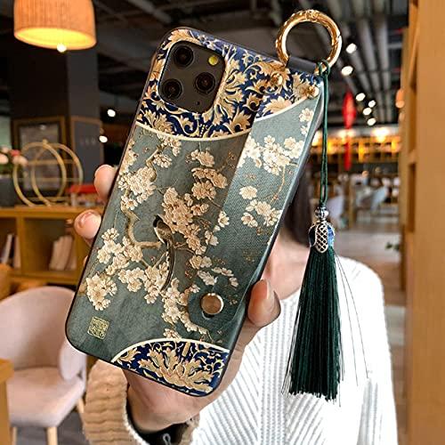 Estuche para teléfono en Relieve 3D para iPhone 11 12 Pro MAX XS MAX XR 8 7 6 Plus X Estuches Traseros Suaves Correa de muñeca Cubierta con Borla para Samsung, 5, para iPhone XR