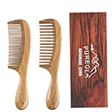 Handmade Wooden Comb Set [Gift Box] - pureGLO Natural Green Sandalwood Anti-Static Fine & Wide Tooth...