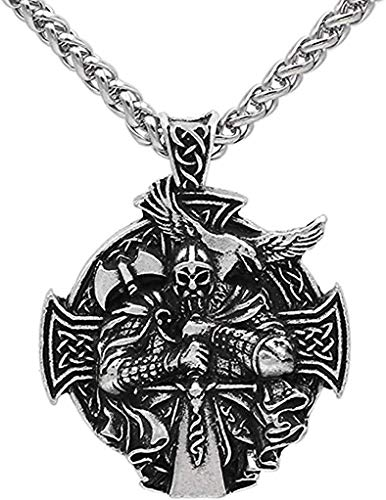 QAZXCV Viking hammer Necklace Odin Pendant and Raven with Compass Pendant Double Side Necklace Jewellery for Men - 60cm