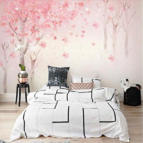 BZDHWWH Handgemalte Aquarell Kirschblüte Wand Nordic Romantische Kirschblüten Dekorative Malerei Professionelle Produktion Wallpape,50Cm (H) X 70Cm (W)
