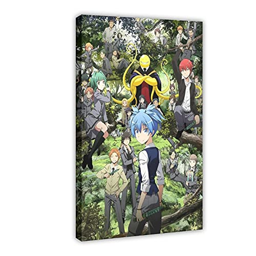 Póster de anime de asesinato en el aula Korosensei de anime 5 en lienzo para decoración de sala de estar, dormitorio, marco de decoración de 40 x 60 cm