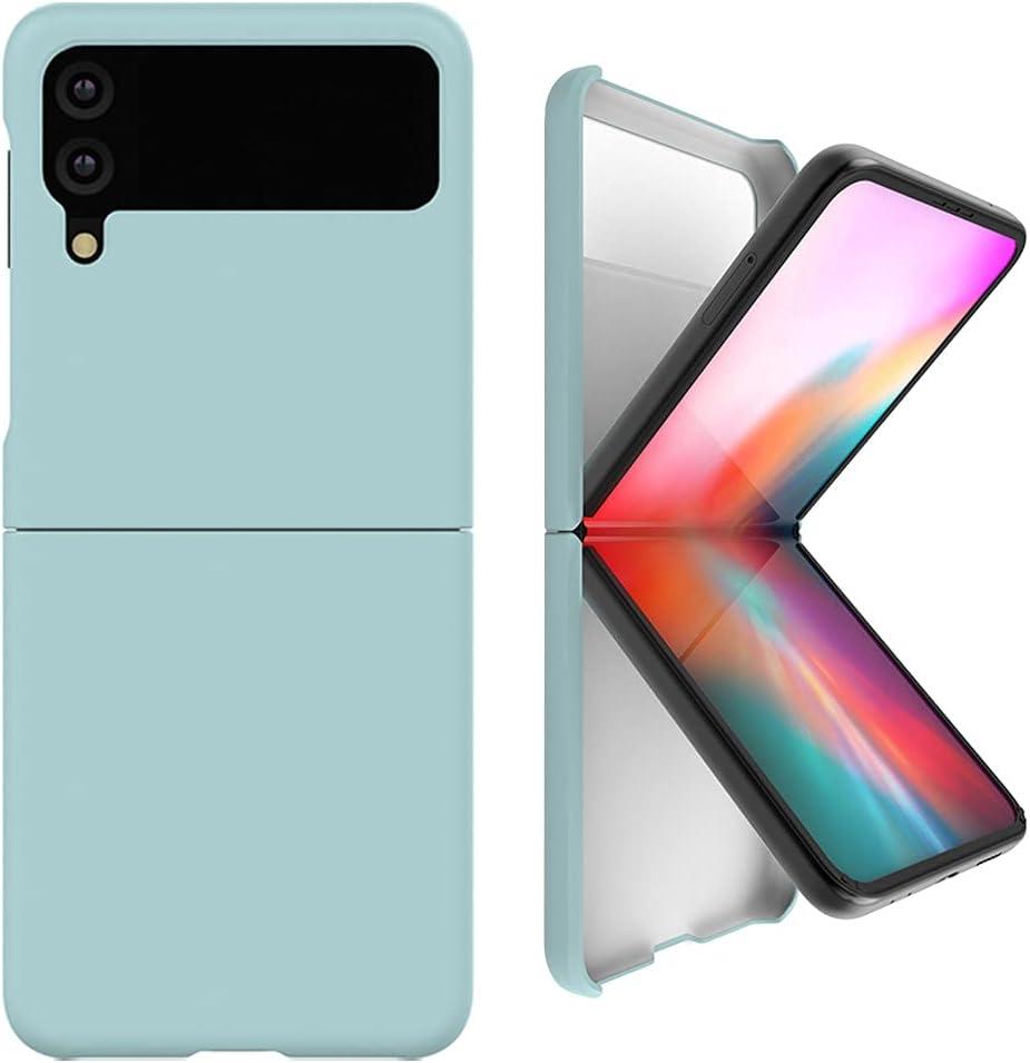 Alpha Pastel Slim Hard Designed for Galaxy Z Flip 3 5G Case (2021), Wireless Charging Support After Wearing (Blue)