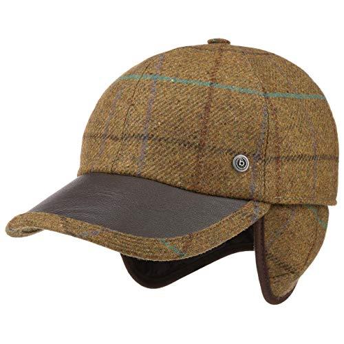 Bugatti Cap mit Lederschirm und Ohrenklappen Basecap Baseballcap Herrencap Wintercap Wollcap (XL (60-61 cm) - Dunkelbeige)