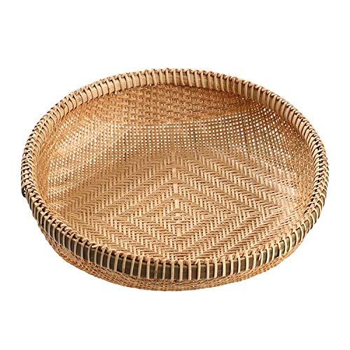 TPCYAN Cestas de Mimbre Redondas - Bambú Tejido - Hampers de Almacenamiento de Cocina (22 cm / 26 cm / 29 cm / 32 cm / 35 cm / 38cm) (Size : 29x6cm)