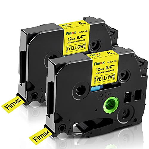 """Fimax Compatible Label Tape Replacement for Brother tze12mm 0.47"""" TZe-631 TZe631 Black on Yellow Standard Laminated Tape for PTD200 PTD210 PTD400 PTD600VP PTH110 PTP700 (2PACK)"""