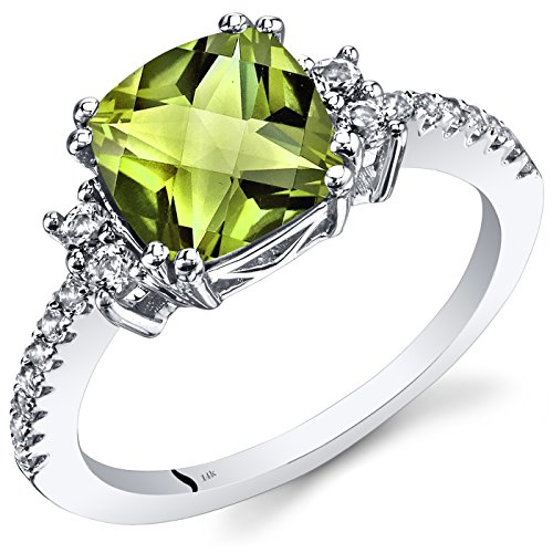 Peora Peridot Ring in 14K White Gold with Genuine White Topaz, Designer Cushion Cut, 8mm, 2.53 Carats total, Comfort Fit, Size 9