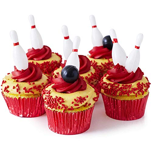 """Bowling Pins and Bowling Balls Cupcake Toppers Kit - (18) 1 3/4"""" Mini Plastic Bowling Pins (2) Black Bowling Balls (3.2 oz) Red Jimmies, (30) Red Foil Cupcake Liners"""