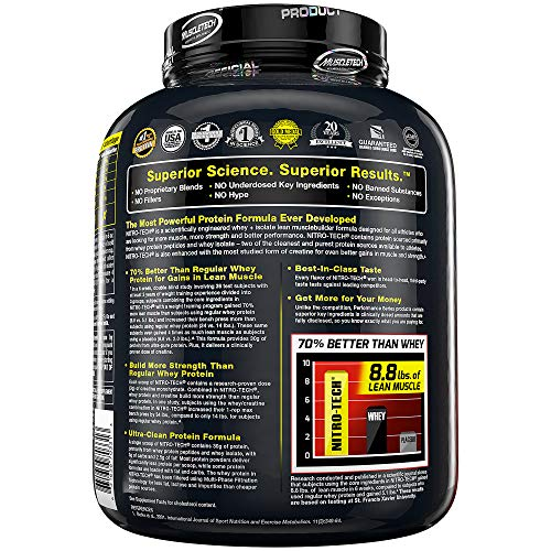 Protein Powders, MuscleTech Nitro-Tech Whey Protein Powder + Creatine Monohydrate, Whey Isolate + Peptides, Protein Shakes for Men & Women, 6.8g of BCAA, Cookies and Cream, 1.8 kg (40 Servings)