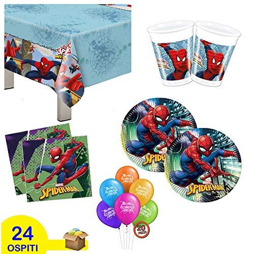 Kit de fiesta de cumpleaños Spiderman, 109 unidades para 24 personas, niño,...