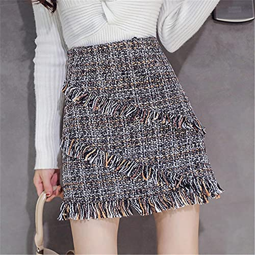 Falda Mujer Otoño Invierno Señoras Plaid A-Line Mini Faldas Mujeres Cintura Alta Borla Mini Faldas Coreanas...