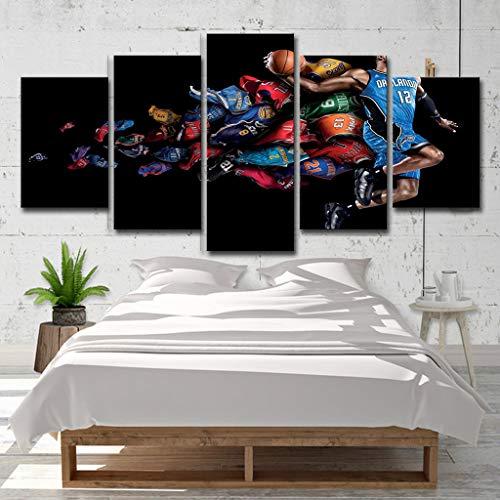 LAHappy 5 Piezas Impresiones En Lienzo Camiseta NBA All-Star HD Impermeable Wall Art Imágenes Póster Sala Cuadro para La Decoración del Hoga,B,S