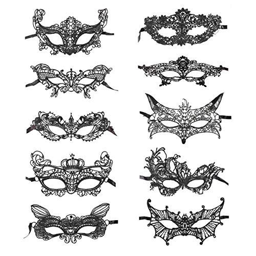Máscaras venecianas Conjunto de 10 Mujeres Hombres Carnaval y Baile de máscaras - Disfraz de Adulto - Unisex Talla única