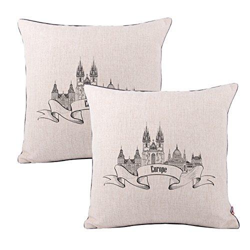 Queenie–2pcs famosos en el mundo de grosor algodón lino decorativo funda de almohada Funda de cojín manta funda de almohada 18x 45,72cm 45x 45cm