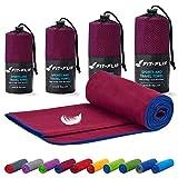 Toalla microfibra – 18 colores, muchos tamaños – compacta, ultraligera y de secado rápido – toallas de microfibra – toalla gym, toalla viaje y toalla piscina (100x200cm borgoña - borde azul oscuro)