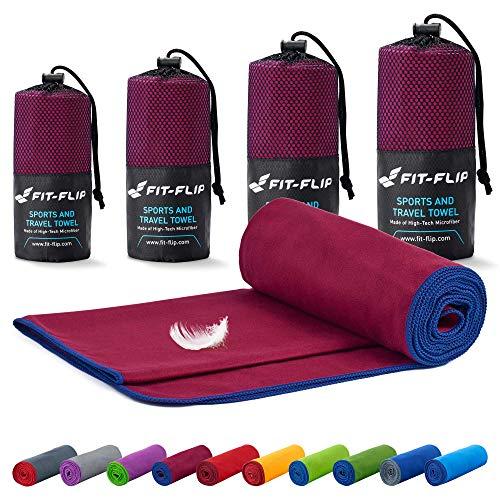 Fit-Flip Reisehandtuch Set – 18 Farben, viele Größen – Ultra leicht & kompakt – das perfekte Fitness Handtuch, Strandliegenhandtuch und Trekking Handtuch (100x200cm, Weinrot - Dunkelblau)
