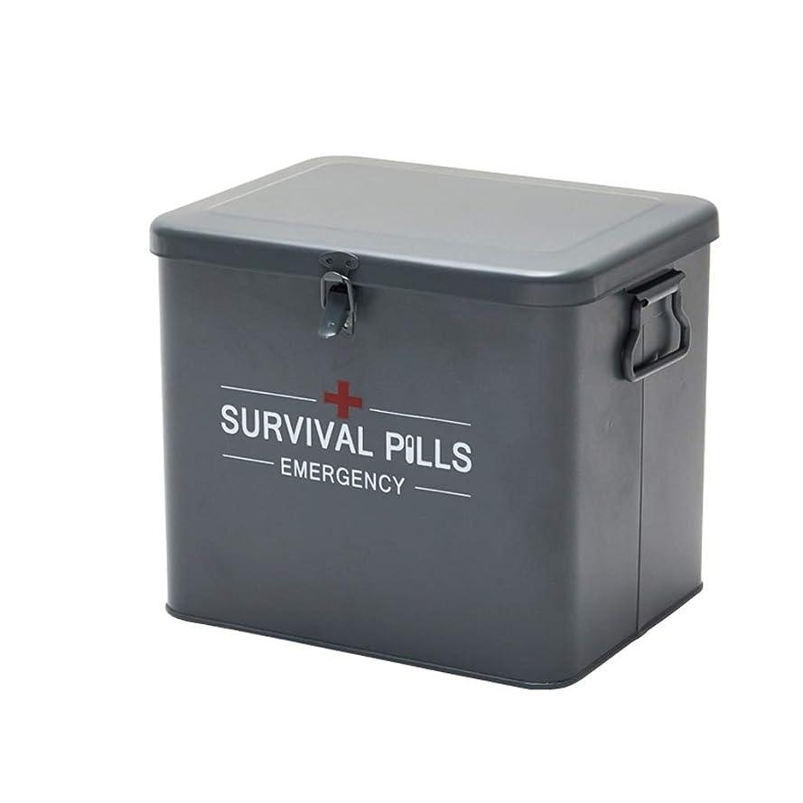 腹部平らにする獣二重層および4つのコンパートメントが付いている救急処置の収納箱のビンテージ金属の医学収納箱 (Color : GRAY)