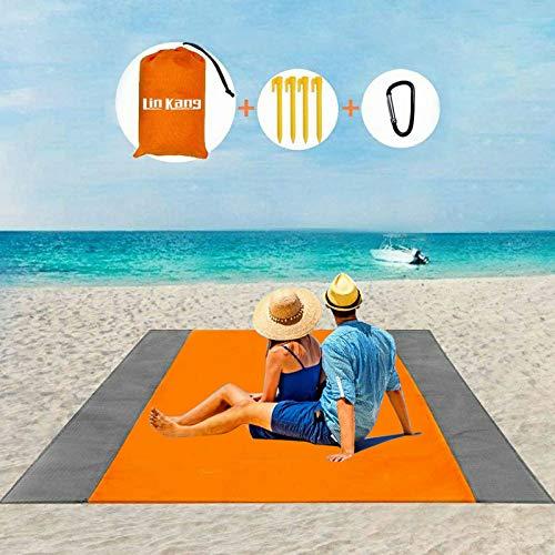 LIN KANG Coperta da Spiaggia Coperta da Picnic Tappetino da Picnic Anti Sabbia 210 X 200 cm Portatile Impermeabile con 4 Picchetti Fixed per Spiaggia, Picnic,Campeggio e Altro (210 X 200cm, Arancia)