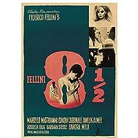 ZNNHEROFellini 8 ½ 映画のポスターとプリントウォールアートキャンバス絵画用リビングルームの家の装飾-50X70Cmx1 フレームなし