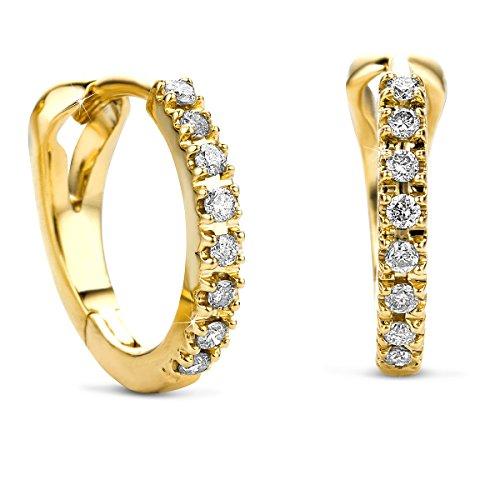 Orovi Damen Diamant Gold Creolen Ohrringe GelbGold 14 Karat (585) Ohr-Schmuck Brillianten 0.10 ct