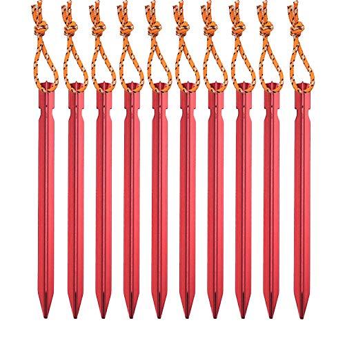 SHULLIN 10 piquetas de aleación de aluminio para tienda de campaña, con cuerda reflectante, piquetas de arena, perfectas para camping y exteriores, carpas de ancla, toldos, lona (rojo)