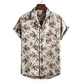 Camisa Hawaiana Hombre,Blusa Casual Con Botones Y Solapa Creativa Flor Tropical Impreso De Color Caqui Suelto Transpirable Estilo Hawaiano Vintage Aloha Manga Corta Para Hombre Mujer Vacaciones En L