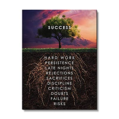 IKONICK Roots of Success Motivational Canvas Wall Art, Inspiration Collection for Office and Home Decor, Inspiring Canvas Art by IKONICK