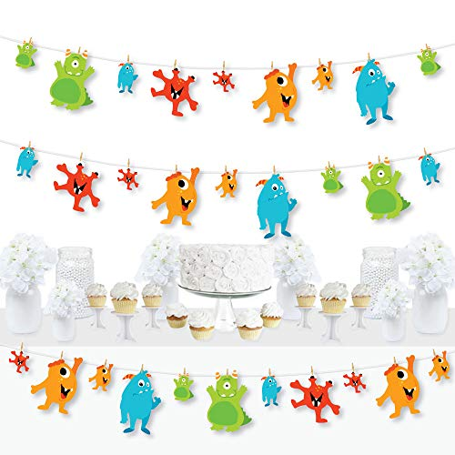 Big Dot of Happiness Monster Bash - Little Monster Birthday Party or Baby Shower DIY Decorations - Clothespin Garland Banner - 44 Pieces