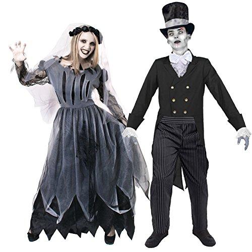 I LOVE FANCY DRESS LTD Geister Zombie Paar KOSTÜM VERKLEIDUNG Halloween Fasching UND Karneval = OHNE ZUBEHÖR =Frauen-MEDIUM + MÄNNER-XLarge