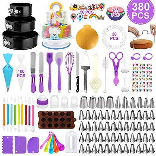 Cake Decorating Supplies Kit 380pcs, Baking Tools Set for Cakes – 3 Packs Springform Cake Pans Cake Rotating Turntable 48 Numbered Piping Icing Tips 4 Russian Nozzles 8 Fondant Tools for Beginners